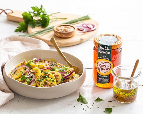 Salade de pommes de terre, sauce au miel de montagne Lune de Miel®
